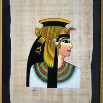 Framed Egyptian Papyrus painting - Cleopatra VII Photo