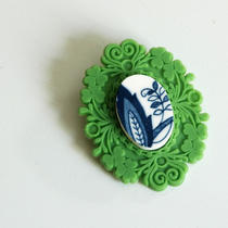 French Brocade Recycled China Brooch - Green and Blue Photo