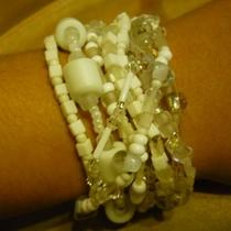 French Vanilla  - a Set of  White 11 Elastic Bracelets. Photo
