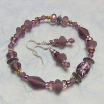 Frosted Lilac Pressed Glass Bracelet & Earring Set Photo