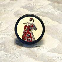 Geisha Plays the Flute Tie Tack - Pin or Adjustable Ring Photo
