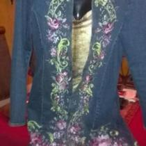 ~ GEORGEOUS EMBROIDERED DENIM TRENCH JACKET ~  Photo