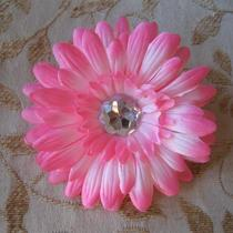 Gerber Daisy Hair Clip Bow With Crystal Center Photo