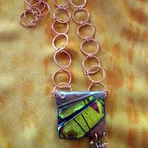 Glass and Copper Dangle Necklace Photo