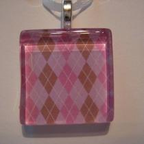 Glass Pendant - Purple Argyle Glass Tile Pendant With Silver Chain Necklace (14) Photo