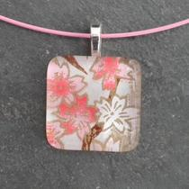 Glass Tile Pendant Necklace - Pink Flowers - Chain Included Photo