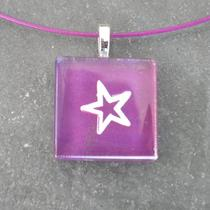 Glass Tile Pendant Necklace - Purple Star - Chain Included Photo