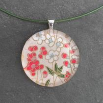 Glass Tile Pendant Necklace - Red and Green Flowers - Chain Included Photo