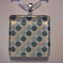 Glass Tile Pendant Necklace Teal Cream White Circles With Silver Chain 7 Photo