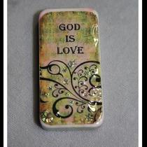 God Is Love Domino Pendant Necklace Pink  Green Distressed With Scrolled Design Photo
