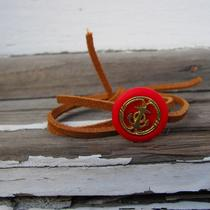 Gold Anchor Button/leather Cord Wrap Bracelet Photo