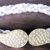 Gold Metal Faux Pearl &ampamp Braided Belt Hook Buckle 26 1/2&amp034  Photo
