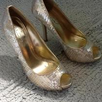Gold sequin pumps Sz 6 like new Photo