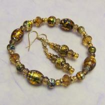 Golden Glass Foil Lined Bracelet & Earring Set Photo