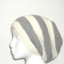 Gray and White Striped Wool Slouch Beanie Beret Photo