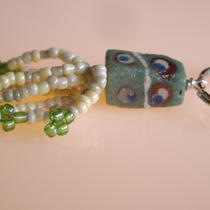 Green and White Glass Keyring Photo