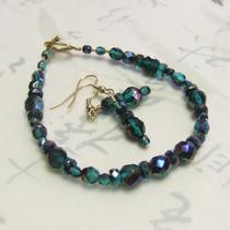 Green Blue Fire-Polished Bracelet & Earring Set Photo