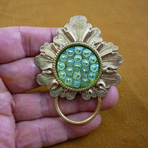 Green Blue Iridescent Czech Glass Button Leaf Repro Victorian Brass Eyeglass Pin Pendant Id Badge Holder E-781 Photo