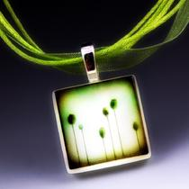 Green Buds - Recycled Glass Photo Necklace Photo