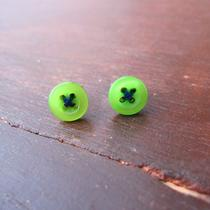 Green Button/navy Blue Thread Earrings Photo