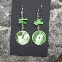 Green Goddess Shell Earrings With Peridot and Turquoise Photo