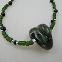 Green Lampwork Heart Necklace Photo