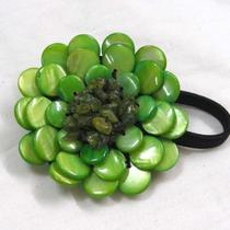 Green Mother of Pearl Handmade Pony Tail Holder Nj Photo