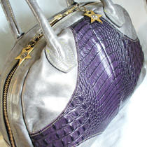 Grey Pearlized &quotleeds&quot Leather Handbag With  Dark Purple Leather Croc Detailing Photo