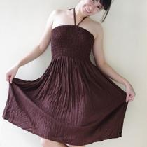 Halter Neck/strapless Dress Long Top in Dark Brown...all in One and One Size Fits All Photo