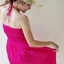 Halter Neck/strapless Dress Long Top in Shocking Pink...all in One and One Size Fits All Photo