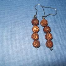 Hand Carved Wooden Rose Bead Earrings Photo