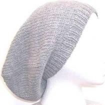 Hand Knitted Gray Wool Beanie Beret Slouch Hat Photo