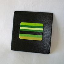Hand-Painted Black & Green Striped Purse Mirror Photo