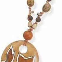 Hand Painted Pendant on Multicord Wood Bead Necklace Photo