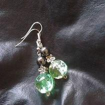 Handmade Glass and Haematite Silver Plated Earrings  Photo