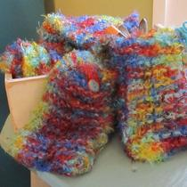 Handmade  Knit  Rainbow Snow  Pocket Scarf Photo