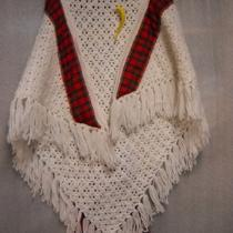Handmade Ladies White & Red Plaid Tassled Crochet Shawl Photo
