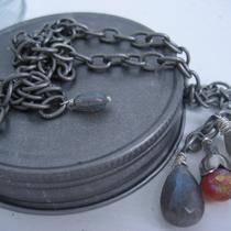 Handmade  Mystic Twilight  Labadorite Carnelian Necklace Photo