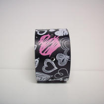 Heart Throb - Black and Pink Upcycled Cuff Photo