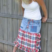 Hippie Patchy Plaid Distressed Denim Skirt    Sale Sale Sale Photo