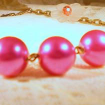 Honeysuckle Pink Vintage Style Glass Pearl Necklace Photo