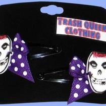 Horror Rock Skull Polka Dot Hair Clips Photo