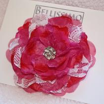 Hot Pink and Lace Flower Clip Photo