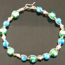 Howlite Turquoise and Glass Beaded Sterling Silver Bracelet Photo