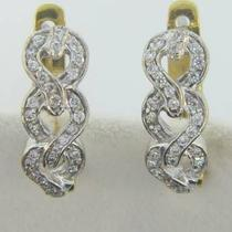 I-1829  18k Wht. &ampamp Yellow Gold Diamond Chain Link Style Hoops Photo