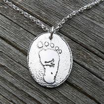 I Wear Your Footprint - Sterling Pendant Customized With Your Childs Actual Footprint Photo