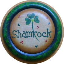 Irish Shamrock St. patrick&39s Day Pin Wood Hand Painted Photo