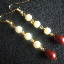Ivory and Bordeaux Pearl Earrings Photo
