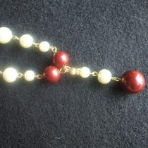 Ivory and Bordeaux Pearl Necklace Photo