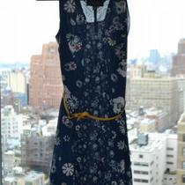 Jason Wu for Target: Navy Blue Floral Tank Dress w/ Gold/Yellow Belt Photo